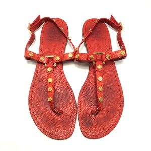 TORY BURCH Marge-Tumbled Leather Sandals Size 8.5
